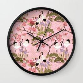 Japanese Garden in Pink Wall Clock