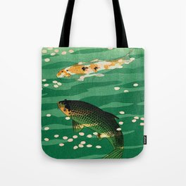 Vintage Japanese Woodblock Print Asian Art Koi Pond Fish Turquoise Green Water Cherry Blossom Tote Bag