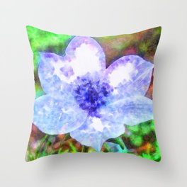 Blue Anemone Watercolor Throw Pillow