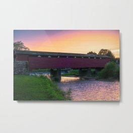 Covered Bridge Sunset Metal Print