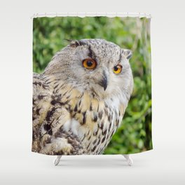 Eagle Owl with glowing eyes Shower Curtain