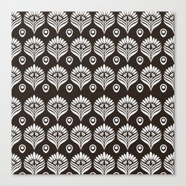 Black and white stylized peacock pattern Canvas Print