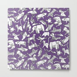 origami animal ditsy purple Metal Print