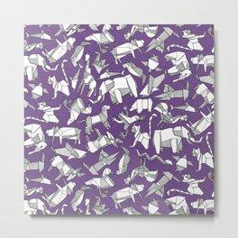 origami animal ditsy purple Metal Print