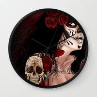 dia de los muertos Wall Clocks featuring Dia De Los Muertos  by Kris Chisholm