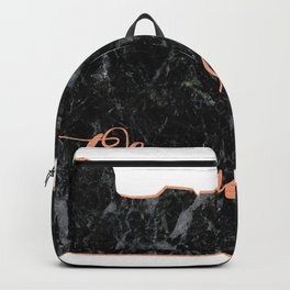 Oregon Rosegold Marble Map Outline Backpack