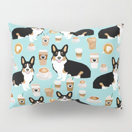Welsh Corgi tri colored coffee lover dog gifts for corgis cafe latte pupuccino Pillow Sham
