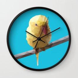 Indian Ringneck Bird Polygon Art Wall Clock