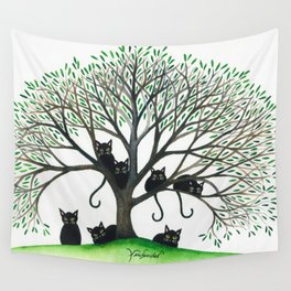Borders Whimsical Cats in Tree Wall Tapestry