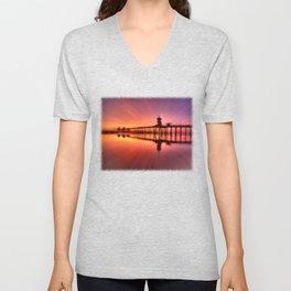 Sunset In Motion Huntington Beach Pier * Photo: Steve Berger Unisex V-Neck