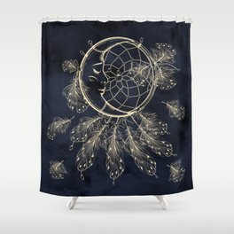 GOLDEN MOON IN DARK NIGHT Shower Curtain