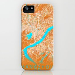 Hangzhou, China, Gold, Blue, City, Map iPhone Case