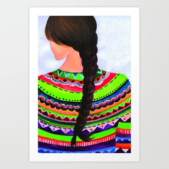 happy in braid Art Print