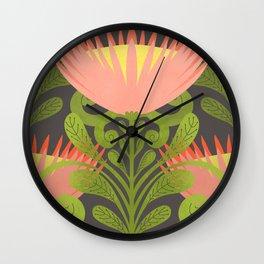 King Protea Flower Pattern - Gray Wall Clock