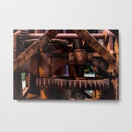 Gears of The Old Rusty Ship Crane Metal Print