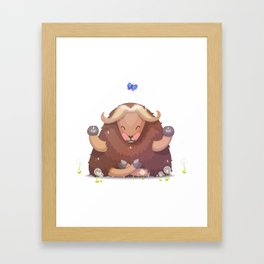 Meditating tibetan yak Framed Art Print