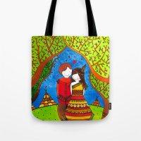 pocahontas Tote Bags featuring Pocahontas by Sandra Nascimento