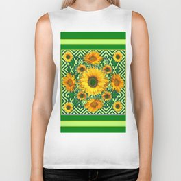 Green Color & Yellow Sunflowers Garden Pattern Art Biker Tank