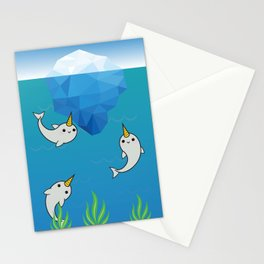 Swimming Narwhals Stationery Cards