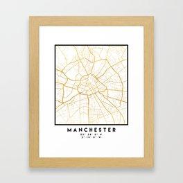 MANCHESTER ENGLAND CITY STREET MAP ART Framed Art Print