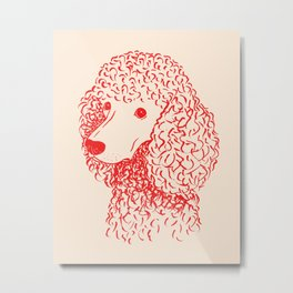 Poodle (Light Peach and Red) Metal Print