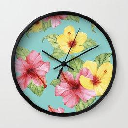 Tropical Hawaiian Hibiscus Floral Print Wall Clock