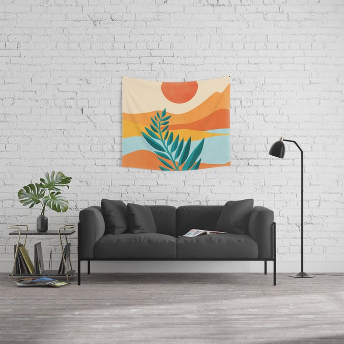 Mountain Sunset / Abstract Landscape Illustration Wall Tapestry