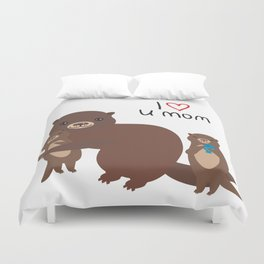 I Love You Mom. Funny brown kids otters with fish on white background. Gift card for Mothers Day. Duvet Cover