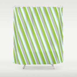 Light Cyan, Green, and Grey Colored Lined Pattern Shower Curtain