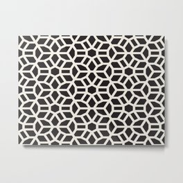 Black & White Geometric Pattern Cool Middle Eastern Moroccan Cultural Style Mosaic Metal Print