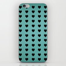 Rows Of Hearts (teal) iPhone & iPod Skin