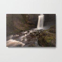 Henrhyd Falls South Wales AKA The Batcave Metal Print