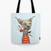 jazzberry Tote Bags featuring Sphynx cat by dogooder