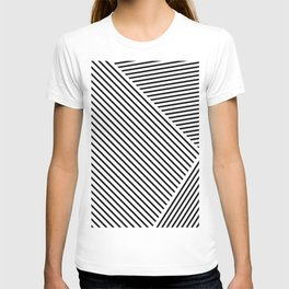 Black and White Lines Hatching Pattern T-shirt