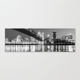 Cincinnati Ohio Panoramic Skyline Reflections - Black and White Canvas Print