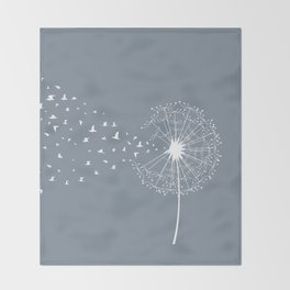 Dandelion and birds Throw Blanket