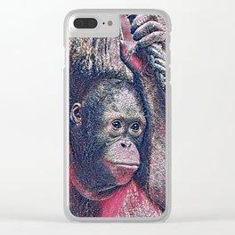 GlitzyAnimal_OrangUtan_002_by_JAMColors Clear iPhone Case