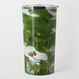 White Cosmos Flowers and a Bee Travel Mug