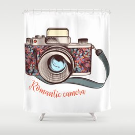 Beautiful pretty gurlish camera with flowers Shower Curtain