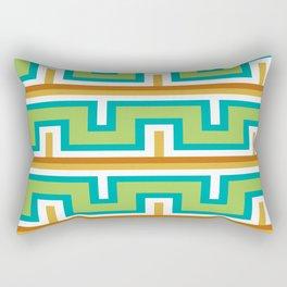 Green Line Structure Native Aztec Pattern Rectangular Pillow