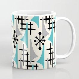 Mid Century Modern Atomic Wing Composition Blue & Grey Coffee Mug