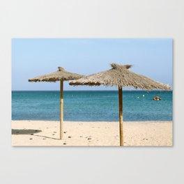 Thatch Beach Umbrellas Canvas Print