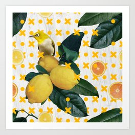Bird & lemons yellow pattern Art Print