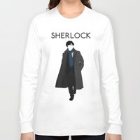 sherlock holmes Long Sleeve T-shirts featuring Sherlock Holmes by Amélie Store