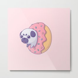 Little pug in donut Metal Print