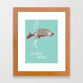 Sloth card - just 5 more minutes Framed Art Print