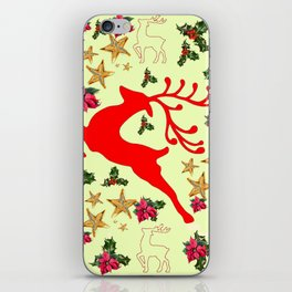 DECORATIVE LEAPING RED DEER  & HOLY BERRIES CHRISTMAS  ART iPhone Skin