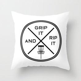 Disc Golf Shirt Discgolf Frisbee Grip It Rip It Throw Pillow