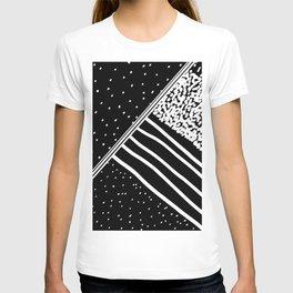Geometrical black white watercolor polka dots stripes T-shirt