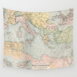 Vintage Map of The Mediterranean Sea (1891) Wall Tapestry